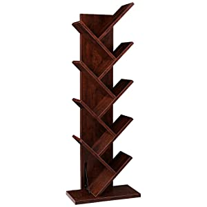 SUPERJARE 9-Shelf Tree Bookshelf | Thickened Compact Book Rack Bookcase | Display Storage Furniture for CDs, Movies & Books | Walnut Brown