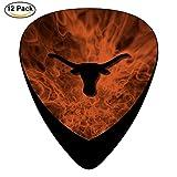 Texas Orange Longhorn Stringed Instruments Picks 12-Pack Celluloid Paddles Plectrums 0.46mm/ 0.71mm/ 0.96mm Guitar Bass Ukulele Picks
