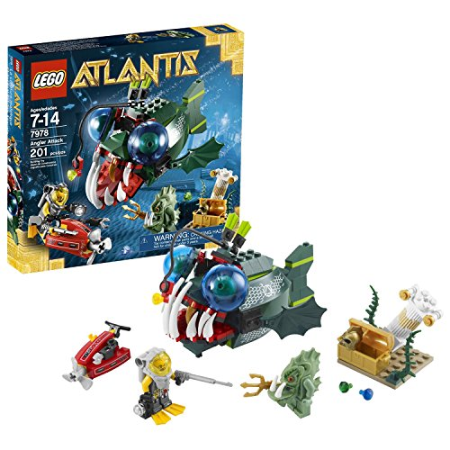 Lego Year 2011 Atlantis Series Battle Scene Set #7978 - ANGLER ATTACK with Angler Fish, Deep Sea Jet, Treasure Chest and 2 Minifigures: Diver with Camera and Harpoon Plus Barracuda Guardian with Trident (Total Pieces: 201)