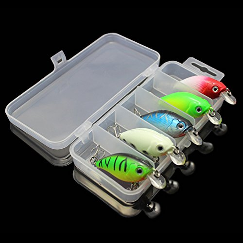 (OriGlam 【Happy Shopping Day】 5 Colors 7.5cm Minnow CrankBaits Fishing Lures, Small Fat Simulation Bait Fishing Gear, Topwater Floating Lure, Life-Like Swimming Swimbait, Bass Bait Hard Fishing Lure)