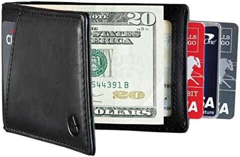 RFID Blocking Genuine Leather Minimalist EDC Front Pocket Wallet Money Clip
