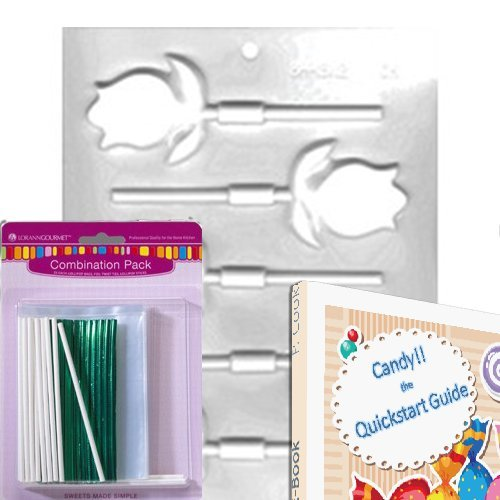 Lorann Lollipop Hard Candy/Chocolate Mold Bundle - Includes Quick Start Guide +25 Lollipop Bags + 25 Twist Ties + 25 Lollipop Sticks + 1 Mold Sheet (Tulip)