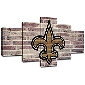 New Orleans Saints Picture Frame NFL Team Logo Wall Decor Art Paintings 5 Piece Canvas Artwork Living Room American Football Prints Poster Decoration Wooden Framed Ready to Hang(60''Wx32''H)