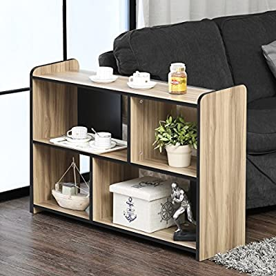 FITUEYES Glass TV Stand for Flat Screen Living Room Storage Shelves Entertainment Center - 【Multifunctional Design】This TV stand is perfect for TVs up to 55 inches, hold up to 150 Ibs tv and you can also put your photo frame and little plant on the top. And 4 open shelves with big capacity 【Classic Appearance】The black wood grain and simple lines on this Fitueyes TV cabinet make this TV stand look classic and elegant. It can be not only used as TV stand, also perfect for sofa table, hallway Table, entry table, entertainment center, media stand, storage console table, etc. 【Easy To Clean】Constructed of high quality material, our TV stand is more sturdy and durable for more years to use. And clean surface with a soft cloth makes your life more simple and convenience - tv-stands, living-room-furniture, living-room - 517n9HcY8xL. SS400  -