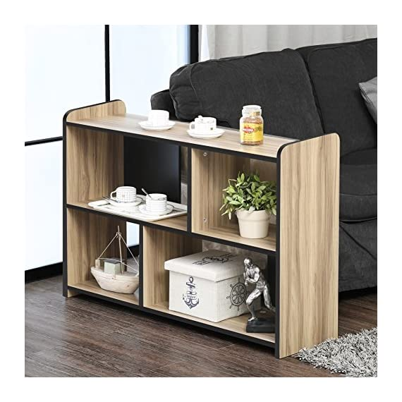 FITUEYES Glass TV Stand for Flat Screen Living Room Storage Shelves Entertainment Center - 【Multifunctional Design】This TV stand is perfect for TVs up to 55 inches, hold up to 150 Ibs tv and you can also put your photo frame and little plant on the top. And 4 open shelves with big capacity 【Classic Appearance】The black wood grain and simple lines on this Fitueyes TV cabinet make this TV stand look classic and elegant. It can be not only used as TV stand, also perfect for sofa table, hallway Table, entry table, entertainment center, media stand, storage console table, etc. 【Easy To Clean】Constructed of high quality material, our TV stand is more sturdy and durable for more years to use. And clean surface with a soft cloth makes your life more simple and convenience - tv-stands, living-room-furniture, living-room - 517n9HcY8xL. SS570  -