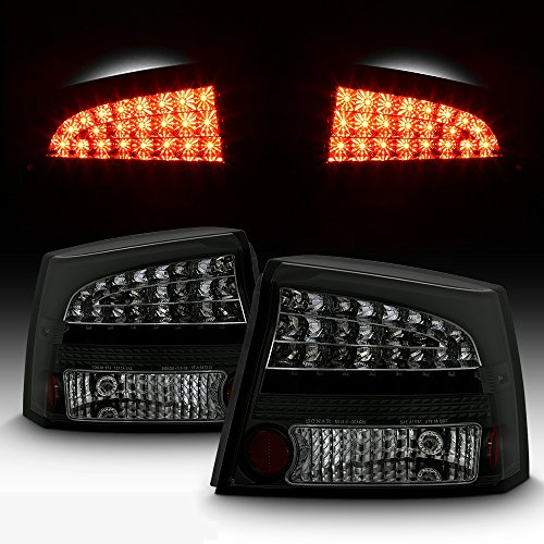 For 06-08 Dodge Charger LX Rear Black Smoked LED Tail Lights Brake Lamps Taillamps Replacement Left + Right