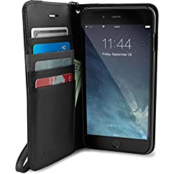 Silk iPhone 7 Plus/8 Plus Wallet Case - FOLIO WALLET Synthetic Leather Portfolio Flip Card Cover with Kickstand -Keeper of the Things - Black Onyx