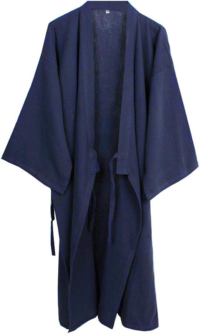 Camisón japonés para Hombre, Pijama, Kimono, algodón, camisón [Azul Marino, Talla L]: Amazon.es: Ropa y accesorios
