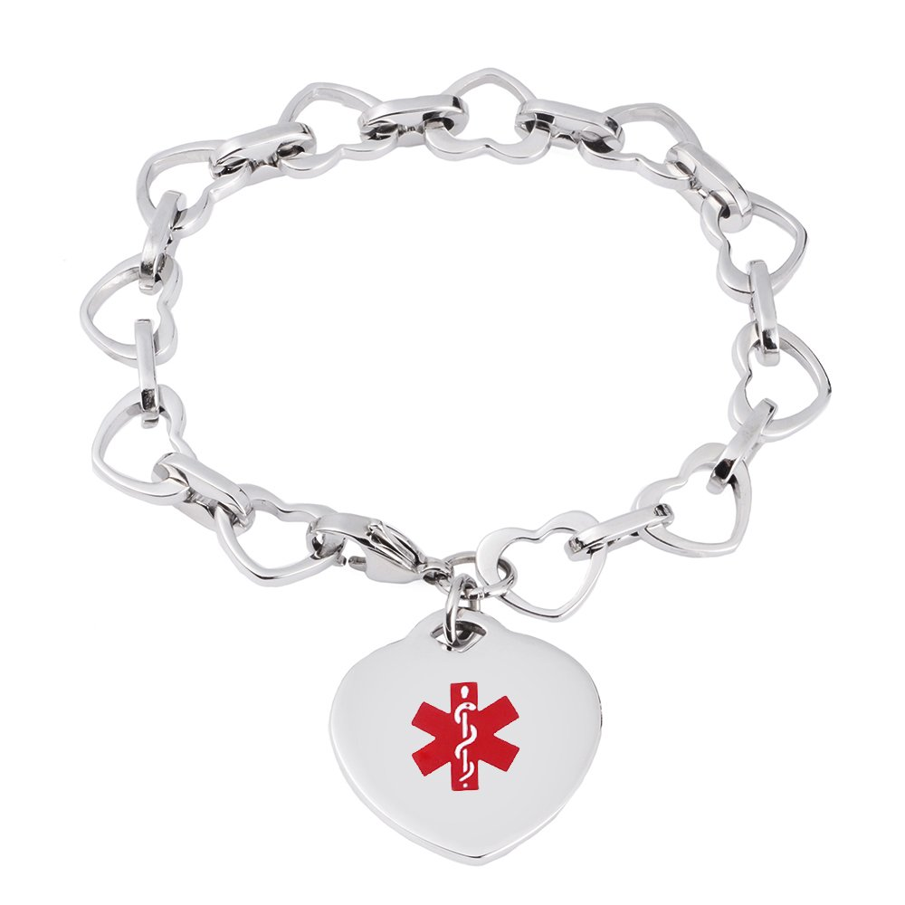LinnaLove Heart to Heart Medical id bracelet for Women and Girls with Free engraving(STEEL)
