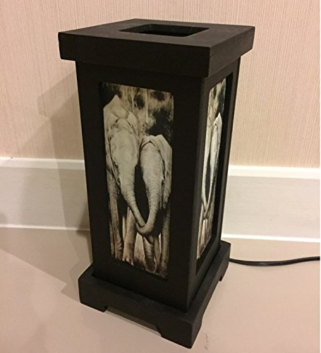 Thai Vintage Handmade Asian Oriental Family Elephant Bedside Table Light or Floor Wood Paper Lamp Shades Home Bedroom Garden Decor Modern Design from Thailand by Thai Decorated (Image #3)