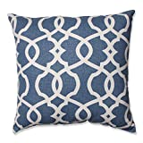 Pillow Perfect Lattice Damask Throw Pillow, 18-Inch, Blue