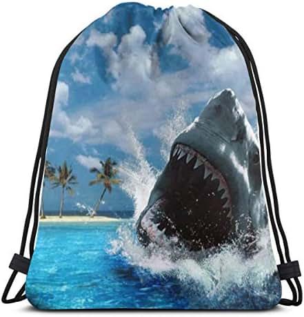 Drawstring Backpack Bag, Cinch Sack, Sport Gym Bag For Women Or Men, Shark