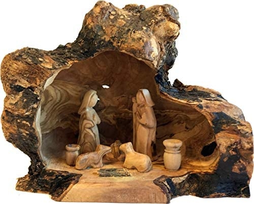 Holy Land Market Unique Olive Wood Nativity Set with Carved in by Hand Rustic Stable – no Two Alike – Large