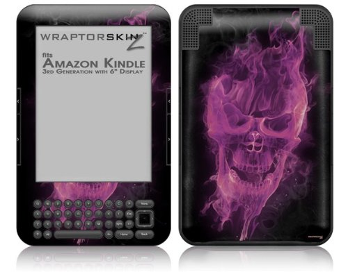 Flaming Fire Skull Hot Pink Fuchsia - Decal Style Skin fits Amazon Kindle 3 Keyboard (with 6 inch display)