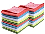 Sinland 5 Color Assorted Microfiber Dish Cloth Best Kitchen Cloths Cleaning Cloths with Poly Scour Side 12Inchx12Inch20 Pack (Pinkx4+bluex4+whitex4+yellowx4+greenx4)