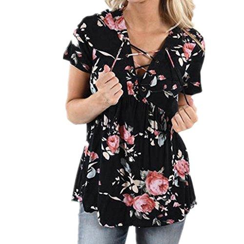 Camisetas Para Mujer, FAMILIZO Moda Mujer Verano Suelta Top Manga Corta De Manga Blusa Señoras Casual Tops T-Shirt Camisetas Negro