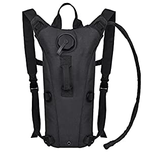 Bormart 3L 3 Liter 100 ounce Hydration Pack Bladder Water Bag Pouch Hiking Climbing Hunting Running Survival Outdoor Backpack (Black)