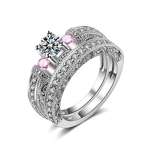 A.Minnymin Women's Romantic 925 Sterling Silver Cut AAA CZ Halo Solitaire Band Ring SET (8)