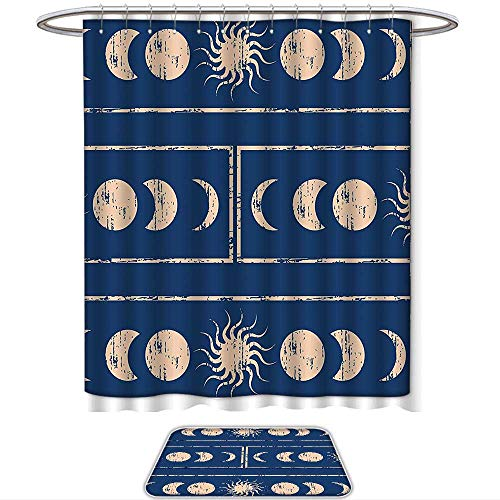QINYAN-Home Pattern Printing Suit Sacred Geometrty Decor Grungy Ethnic Design of Planetary with Sun Moon Phases of Mystery Blue Cream. Bath Towels Sets(Ten Sizes ()
