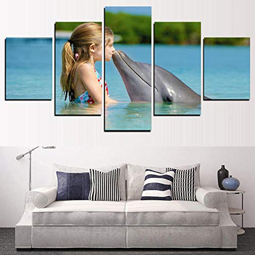 dianlan 5 Piece Sketchpad Canvas Girl Kissing Dolphins HD Print Artwork Restaurant Living Room Hanging Painting Home Decorations Environmental Protection Gift(Wooden Frame)