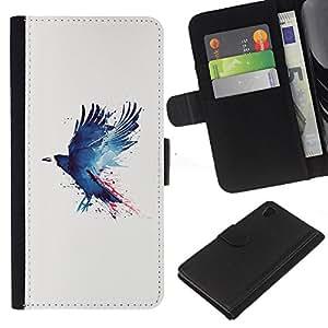 JackGot ( Grunge azul Cuervo ) Sony Xperia Z4v / Sony Xperia Z4 / E6508 la tarjeta de Crédito Slots PU Funda de cuero Monedero caso cubierta de piel