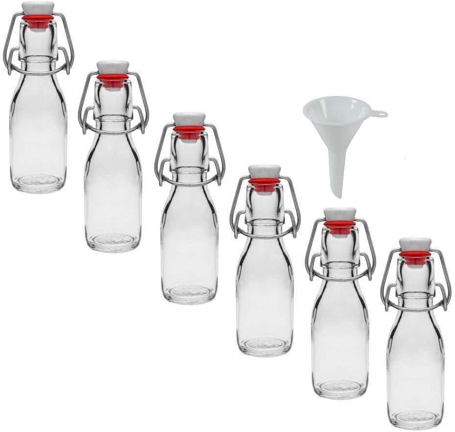 Viva Haushaltswaren - Juego de Botellas pequeñas de Cristal (6 Unidades 100 ml con Cierre rellenables Incluye Embudo Blanco 5 cm de diámetro)