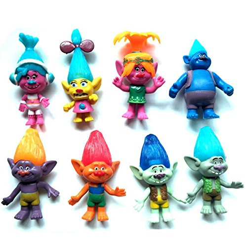 [8pcs/Set Movie Trolls Poppy Branch Figure Dolls Toy Kit 12cm PVC Kids Gift Xmas] (Daisy And Luigi Halloween Costumes)