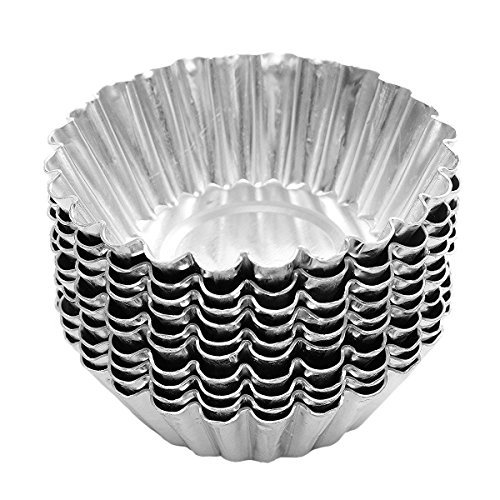 25 Pcs 7cm Aluminum Foil Egg Tart Mould Pie Muffin Cupcake Pudding Makers Mold Cases Tin Pans Plates (Mould Tart)