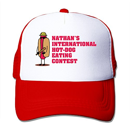 [Candi Men's 2016 Hot Dog Eating Game Meshcap Sports Hip Hop Flexfit Size One Size Red] (Minecraft Costume Contest 2016)