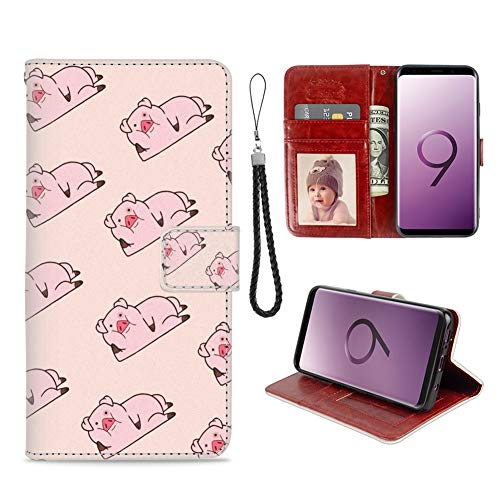 Samsung Galaxy S9 Phone Wallet Case Lying Pig TPU Leather Flip Cover with Card Slot Wallet Case for Samsung Galaxy S9