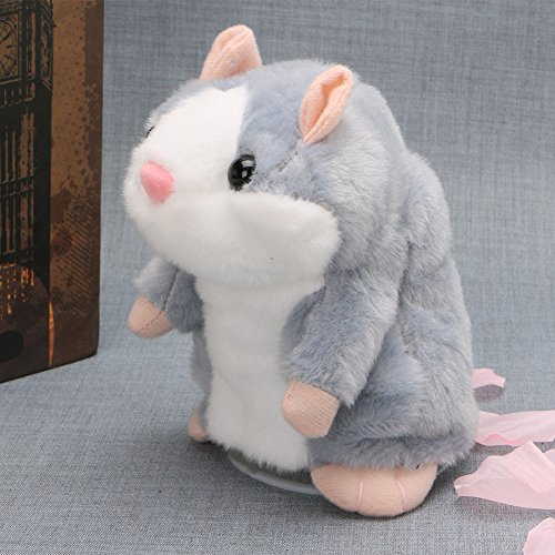 Hacloser Cute Hamster Plush Toy, Mimicry Pet Speak Talking Record Chat Hamster Mouse Gift for Kids (Gray)