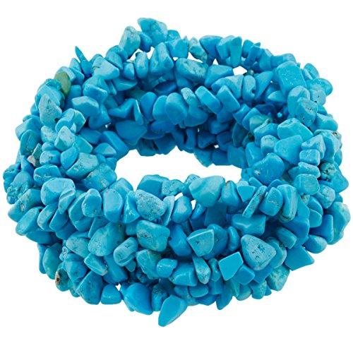 SUNYIK Blue Howlite Turquoise Tumbled Chip Stone Irregular Shaped Drilled Loose Beads Strand for Jewelry Making 35