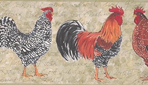 Light Moss Rooster Wallpaper Border 159 OR (Rooster Light)