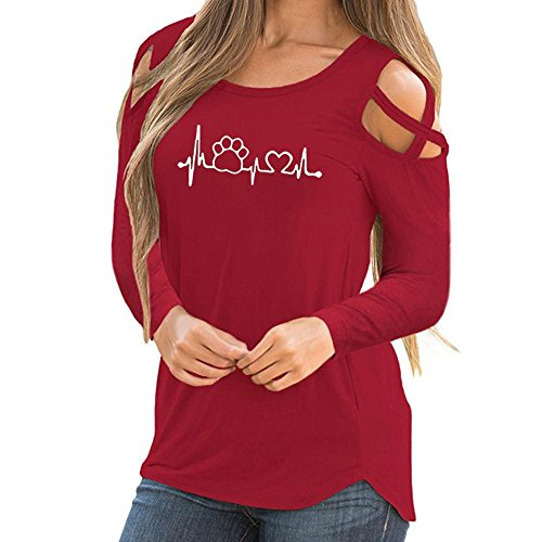 Wintialy Women Casual Long Sleeve Printed Strappy Cold Shoulder T-Shirt Tops Blouses Red
