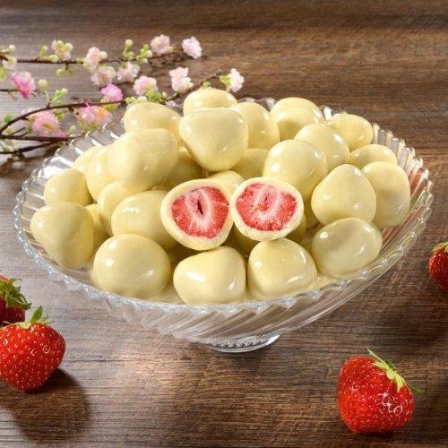 Erdbeeren mit Sahne im Geschenkkarton (400g - zwei Beutel) echte Erd beeren gefriergetrocknet und umhüllt von zarter weißer Schokolade