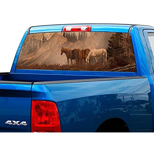 P419 Horse Lightning Rear Window Tint Graphic Decal Wrap Back Pickup Graphics