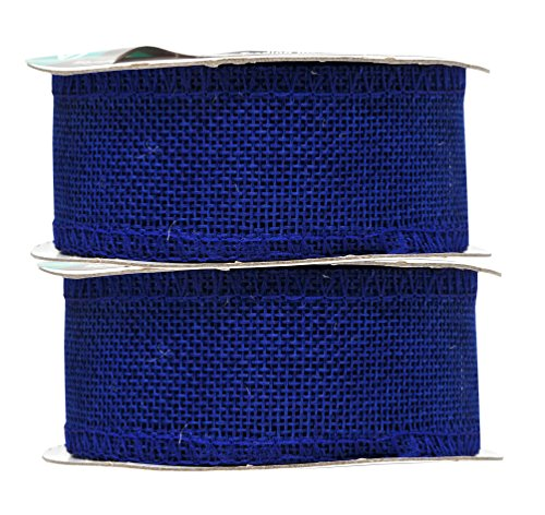 Mandala Crafts Burlap Ribbon, Jute Fabric Strip Spool for Rustic Ornament, Wreath Making, Holiday Decorating, Gift Wrapping (Royal Blue, 1.5 Inches)