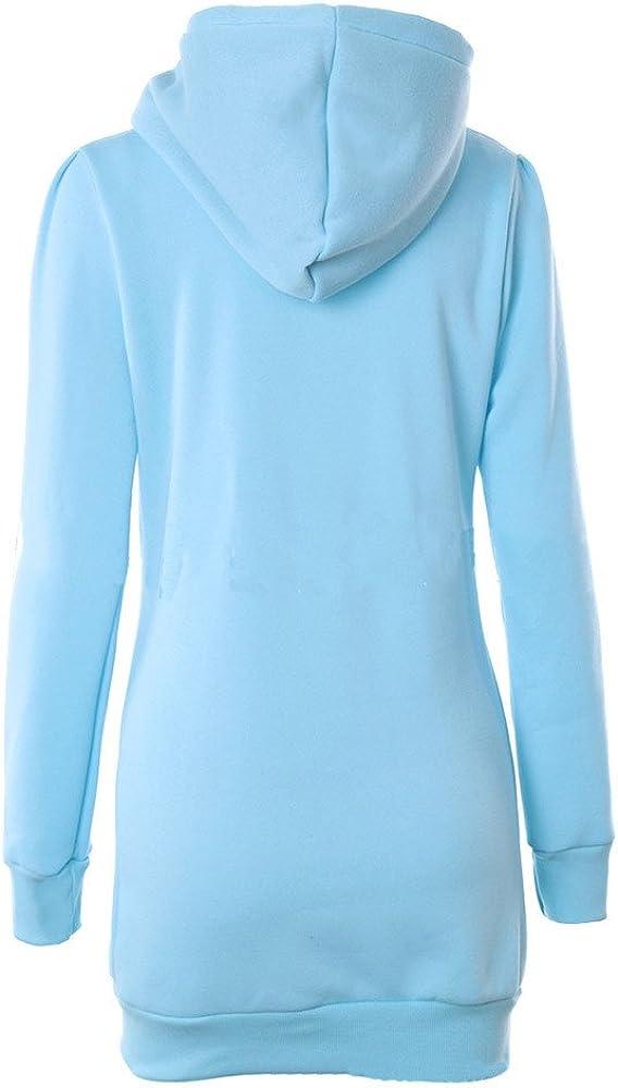 Moginp Fashion Waist Pocket Long Hoodie Jumper Womens Casual Long Sleeve Pullover Hooded Tops Ladies Slim Sweatshirt
