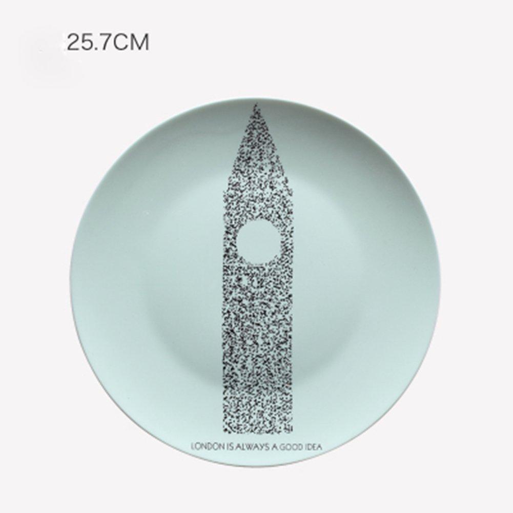 QINGF Moderno Minimalista Cerámica Decorativa Plato Creativo Casa Sala De Estar Y Restaurante Adornos Murales Placa De Porcelana Redonda (10 Pulgadas),Newyork