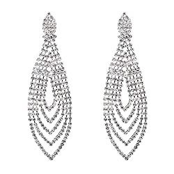 Style F-Silver Plated Crystal Rhinestone Chandelier Dangle Earring