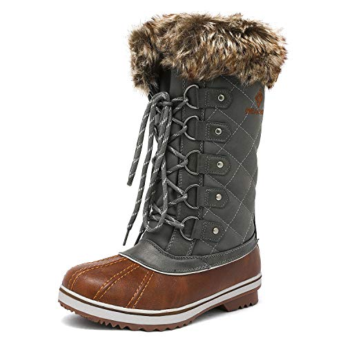 (DREAM PAIRS Women's River_1 Tan Khaki Mid Calf Winter Snow Boots Size 8 M US)