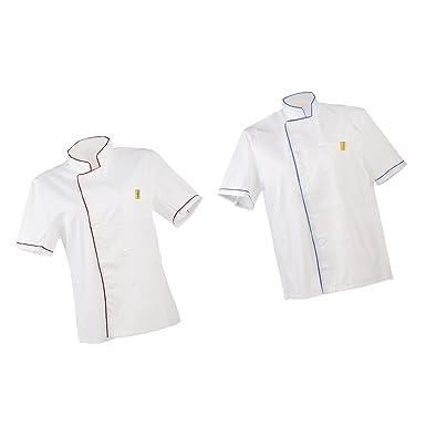Hellery 2x Chaqueta Unisex de Cocinero Camiseta de Manga Corta ...