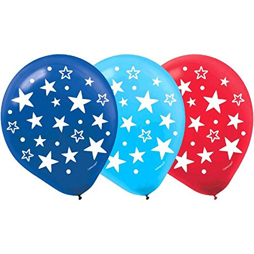 Amscan American Summer Fourth Of July Party Star Printed Balloons Decoration (Pack of 15), Multicolor, 12'
