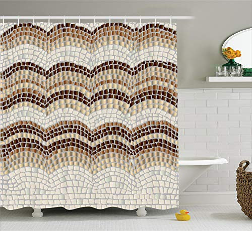 Ambesonne Beige Decor Shower Curtain Set, Gradient Colored Mosaic Waves Setting Antique Roman Royal Dated Aged Retro Patterns, Bathroom Accessories, 69W X 70L Inches, Beige Brown ()