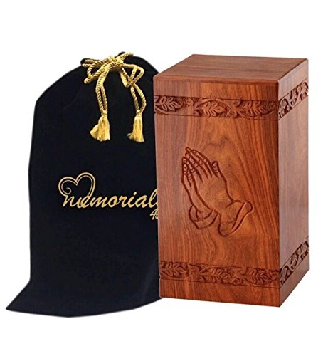 Large Wood Urn - Memorials4u Solid Rosewood Cremation Urn with Hand-Carved Real Tree Design for Human Ashes - Adult Funeral Urn Handcrafted and Engraved - Affordable Urn for Ashes - Wood Urn (Praying Hand)