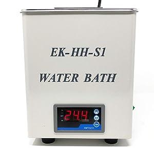 EK-HH-S1 Digital lab heating thermostatic water bath, single hole chamber, 300 w heat power, rt – 99 degrees temp, 3150ml max liquid vol capacity, water bath size: 14 x 15 x 15cm, 120V US plug by EK