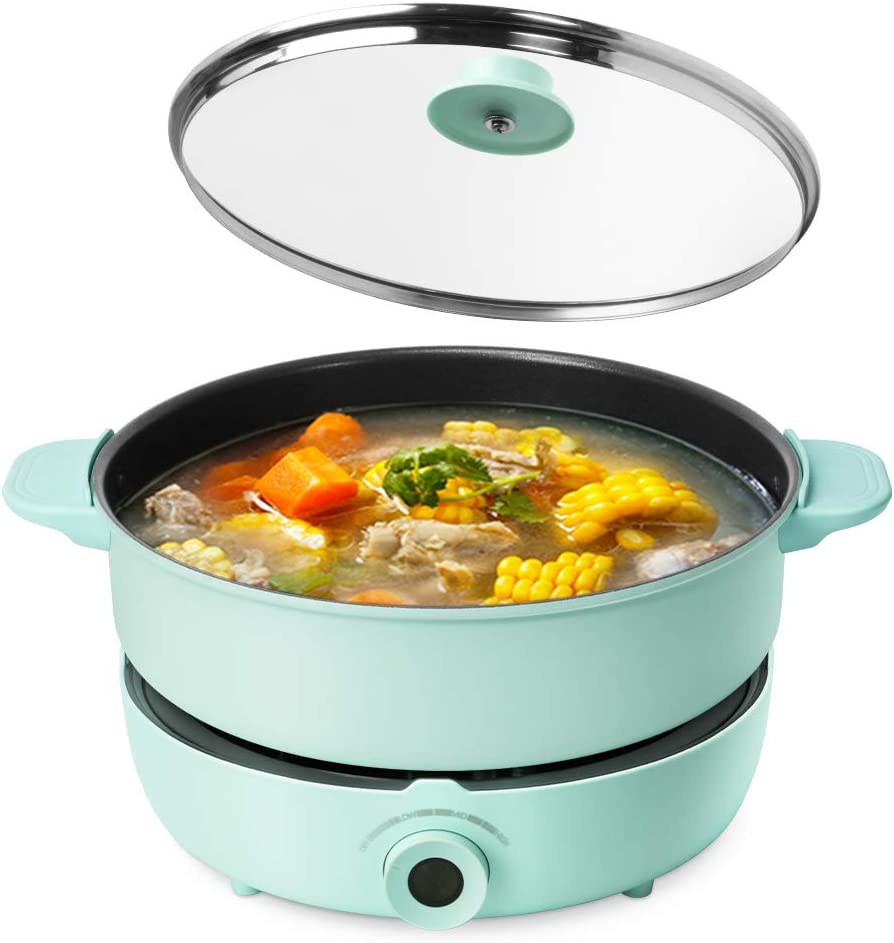 UNAOIWN Hot Pot Electric Shabu Shabu Pot Cooker Non-Stick Skillet Chinese Hot Pot Soup Cookware 5.3 Quart for 2-8 Person Family Party