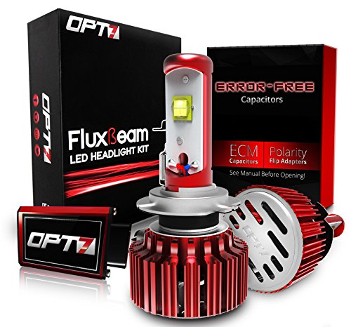 OPT7 FluxBeam H7 LED Headlight Kit w/Clear Arc-Beam Bulbs - 60w 7,000Lm 6K Cool White CREE - 2 Yr Warranty