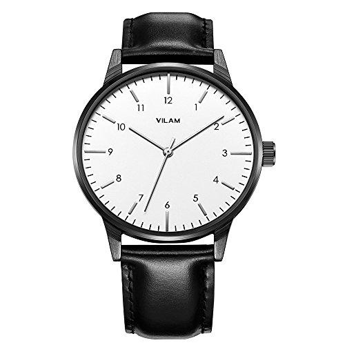 (Vilam Men's Analog Quartz Leather Watches - Vintage Black Leather Band White Face Business Wrist Watch for Men, Simple Design Men Casual Watch)