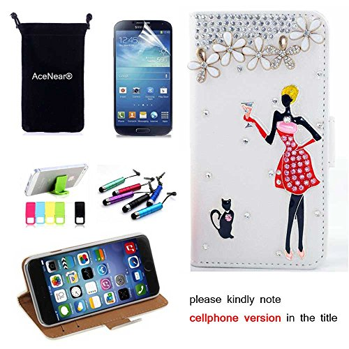 S4 CASE AceNear(TM) For Samsung Galaxy S4 S IV i9500 Ultrathin Wallet Folio Stand Support Leather Case Series & Stand holder & Headset Dust Plug Capacitive Stylus & Screen Protector - cat girl white leather